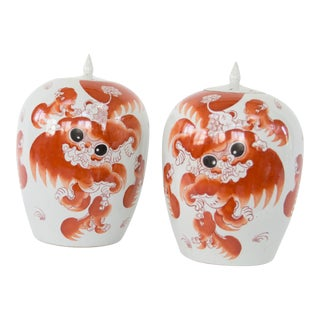 Foo Dog Ginger Jars - a Pair