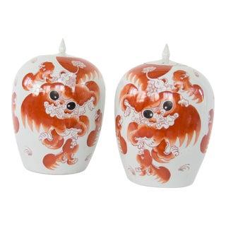 Foo Dog Ginger Jars - a Pair