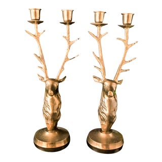 Vintage Brass Stag Candle Holders - A Pair