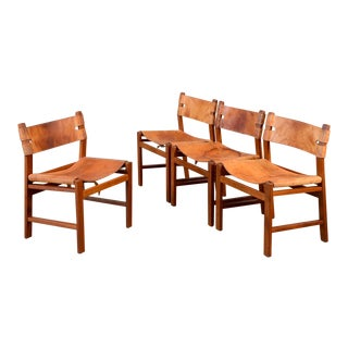 Teak & Leather Sling Dining Chairs - Set of 4