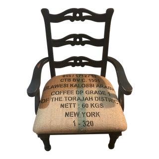 Vintage Burlap Upholstered Side Chair