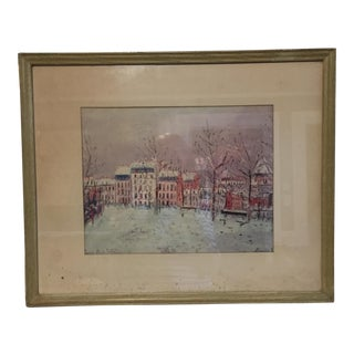 Mid-Century Utrillo Painting Paris in Winter Print