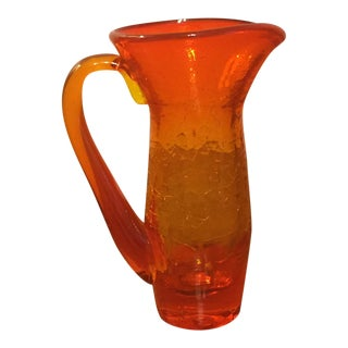 Blenko Mini Glass Vase Amberina Pitcher