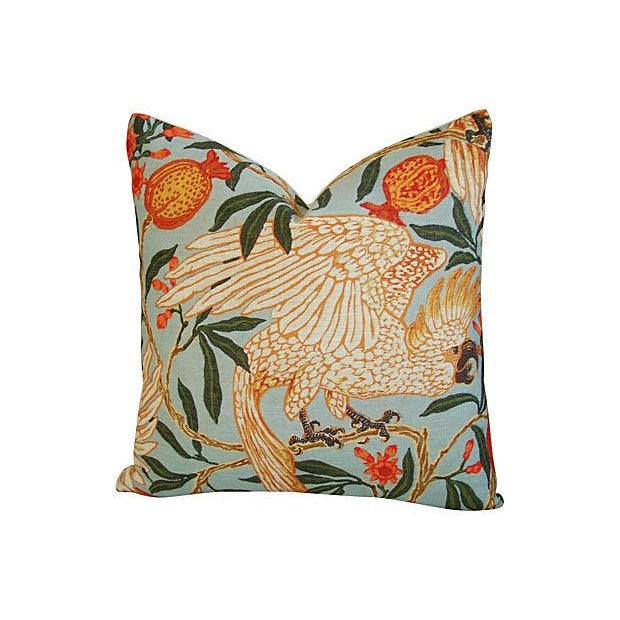 Tropical Parrot & Pomegranate Feather/Down Pillows - a Pair - Image 4 of 7
