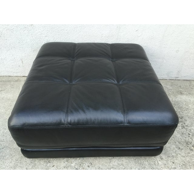 Mid-Century Black Leather Ottoman - Image 5 of 8