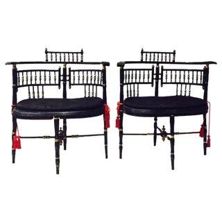 Antique Victorian Gingerbread Arm Chairs - a Pair