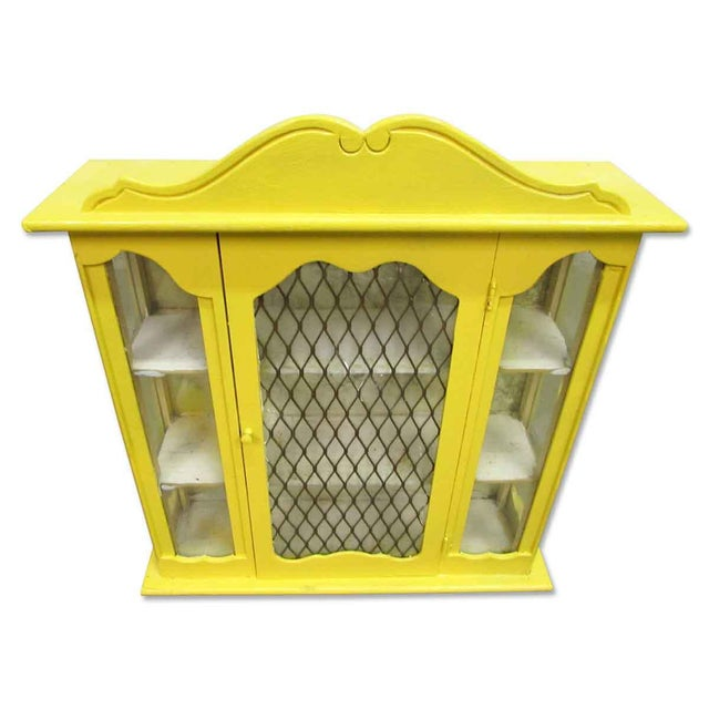 Yellow Painted Curio Cabinet - Image 2 of 8
