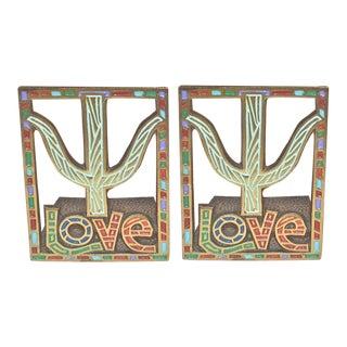 1967 Vintage Love Agape Tree Bookends - Pair