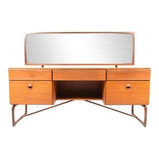 Vintage Scottish Modern Teak Sleigh Base Vanity
