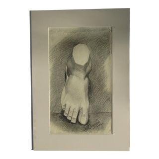 "W Barth Osmundsen ""Foot"" Charcoal Drawing"
