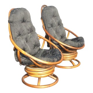 Vintage Mid-Century Bentwood Swivel & Rocking Chairs - A Pair