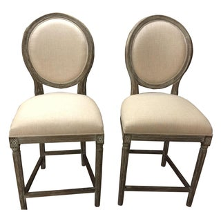 Off White Hand Painted Pub Chairs - 2
