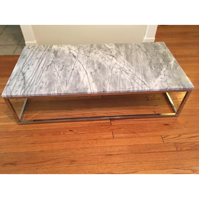 Cb2 marble top coffee table chairish for Cb2 marble coffee table