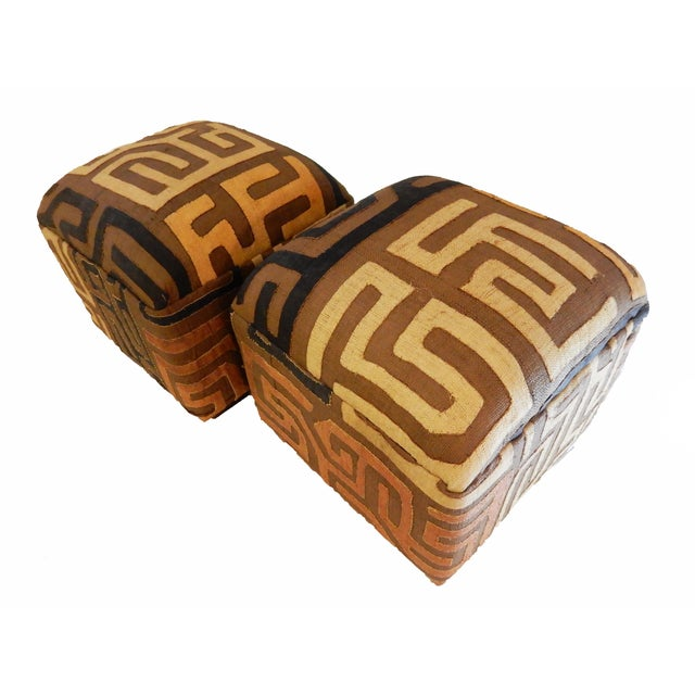 Upholstered Kuba Ottomans - a Pair - Image 2 of 6