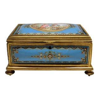 Antique French Jeweled Enamel Box circa 1870