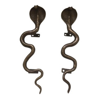 Brass Cobra Door Handles - A Pair