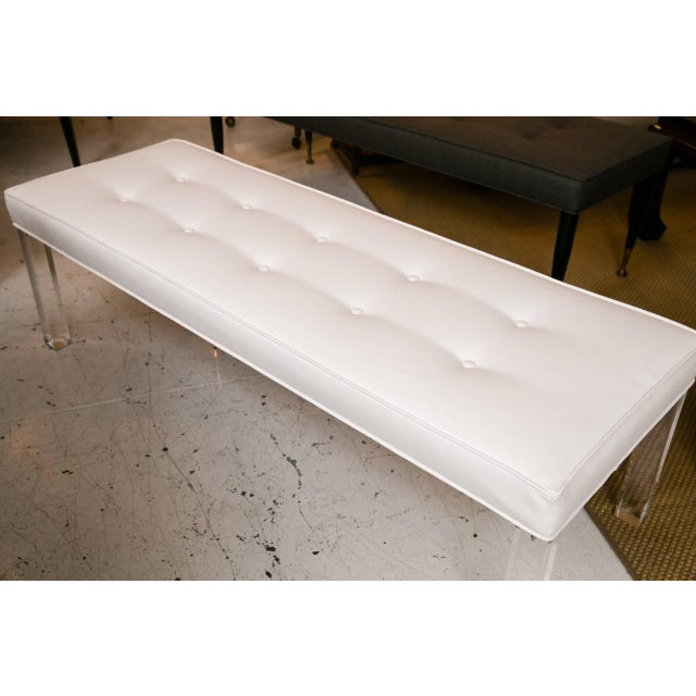 Mid-Century Lucite Tufted White Vinyl Bench - Image 6 of 7