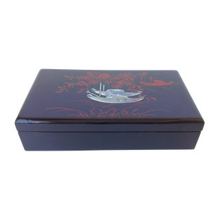 Asian Lacquered Mother of Pearl Inlaid Jewelry Box
