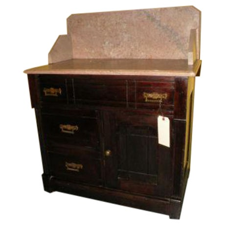 Antique eastlake style marble top dry sink table chairish for Antique stone sinks for sale