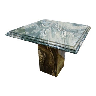 1980s Vintage Green Marble Cocktail Table