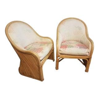 Vintage Gabrielle Crespi Style Rattan Chairs - a Pair