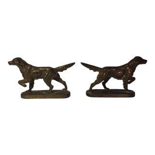 Brass Bird Dogs Bookends - A Pair