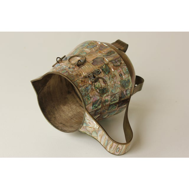 Salvador Teran Abalone Shell & Brass Pitcher - Image 6 of 7