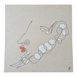 """Lipstick Profile"" Original Line Drawing"