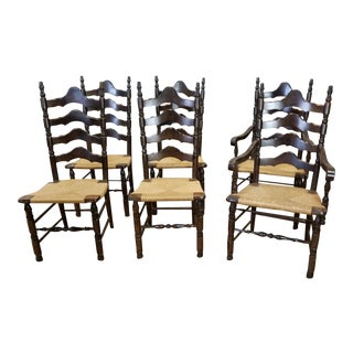 Dark Pine Rush Seated Country Style Ladder Back Dining Chairs - Set of 6