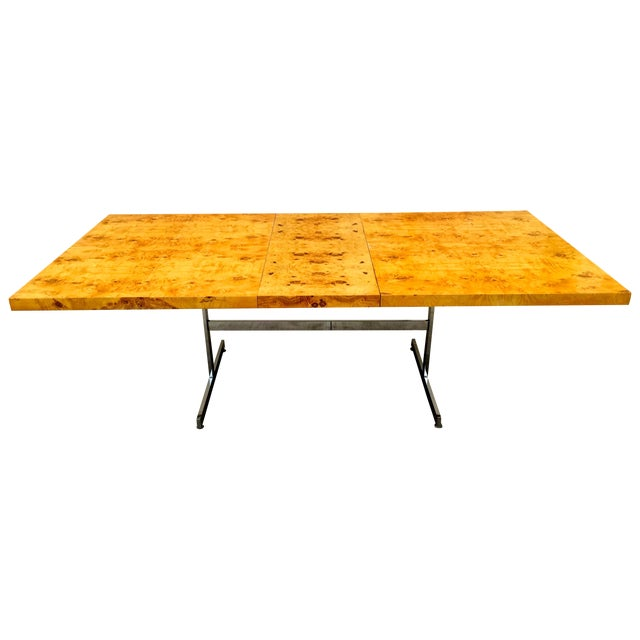Burl Wood & Chrome Dining Table - Image 1 of 11