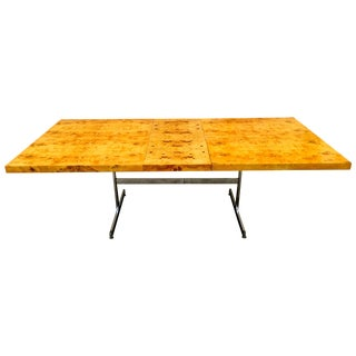 Burl Wood & Chrome Dining Table