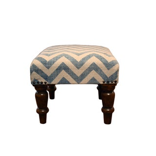 Blue Chevron Hassock Footstool with Wooden Legs