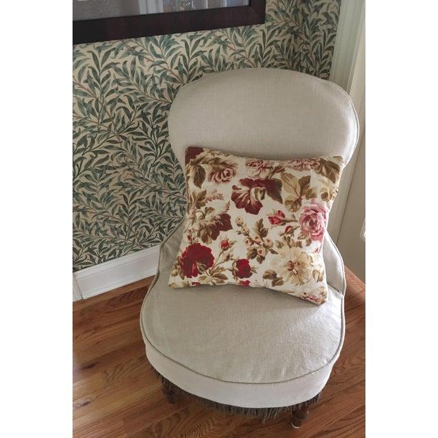 Vintage French Floral & Linen Textile Accent Pillow - Image 3 of 8