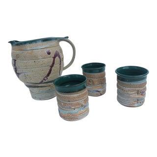 Vintage Studio Pottery Jug & Mugs, Signed Barm - 4