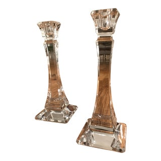 Tiffany & Co. Square Crystal Candle Holders - A Pair