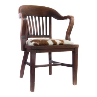 Antique Walnut Chair Upholstered in Cowhide