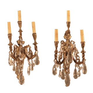 Bronze and Crystal Sconces - A Pair