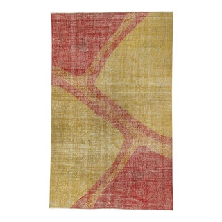 Vintage Turkish Art Deco Yellow & Red Rug - 4′11″ × 8′
