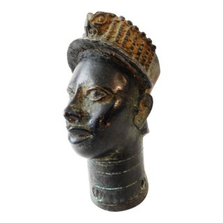 African Benin Bronze Head of King Oba
