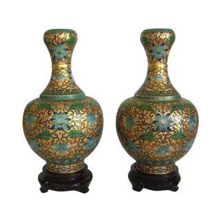 '1000 Flower' Cloisonne Vases - a Pair
