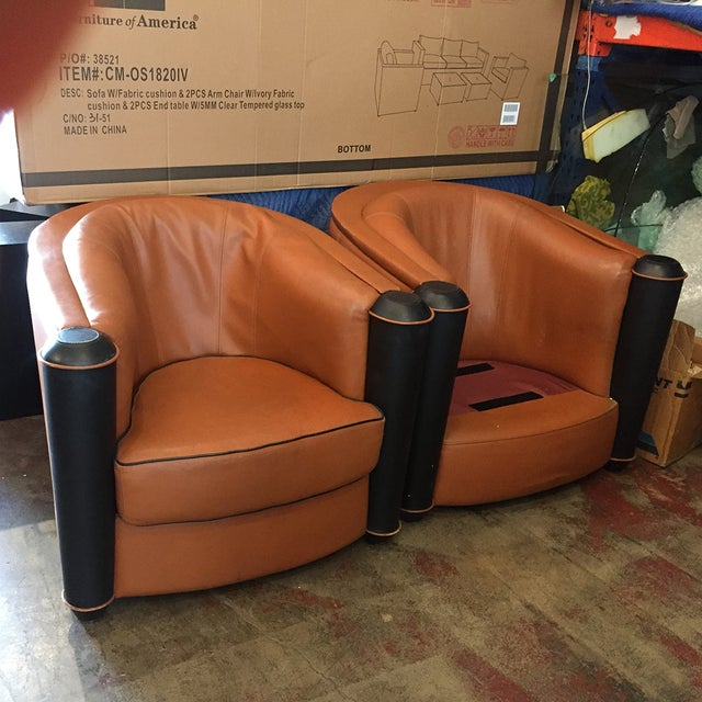 Butterscotch Leather Deco Chairs - Pair - Image 5 of 5