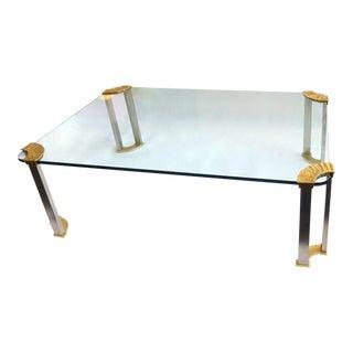 Italian Modernist Glass & Bronze Coffee Table