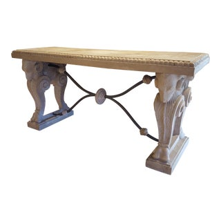 Faux Stone Rams Head Console