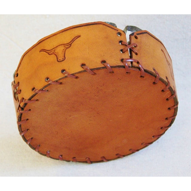 Image of Embossed Leather Texas Longhorn Ashtray
