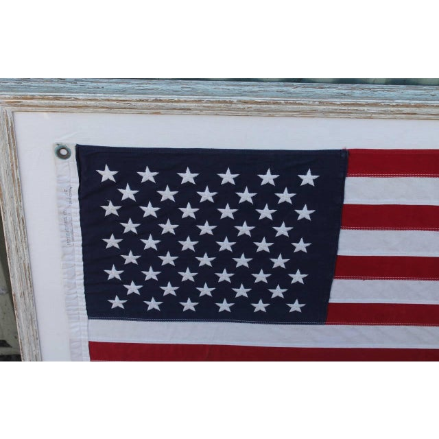 Image of Mid-20th Century 50 Star American Ships Flag with Custom Frame