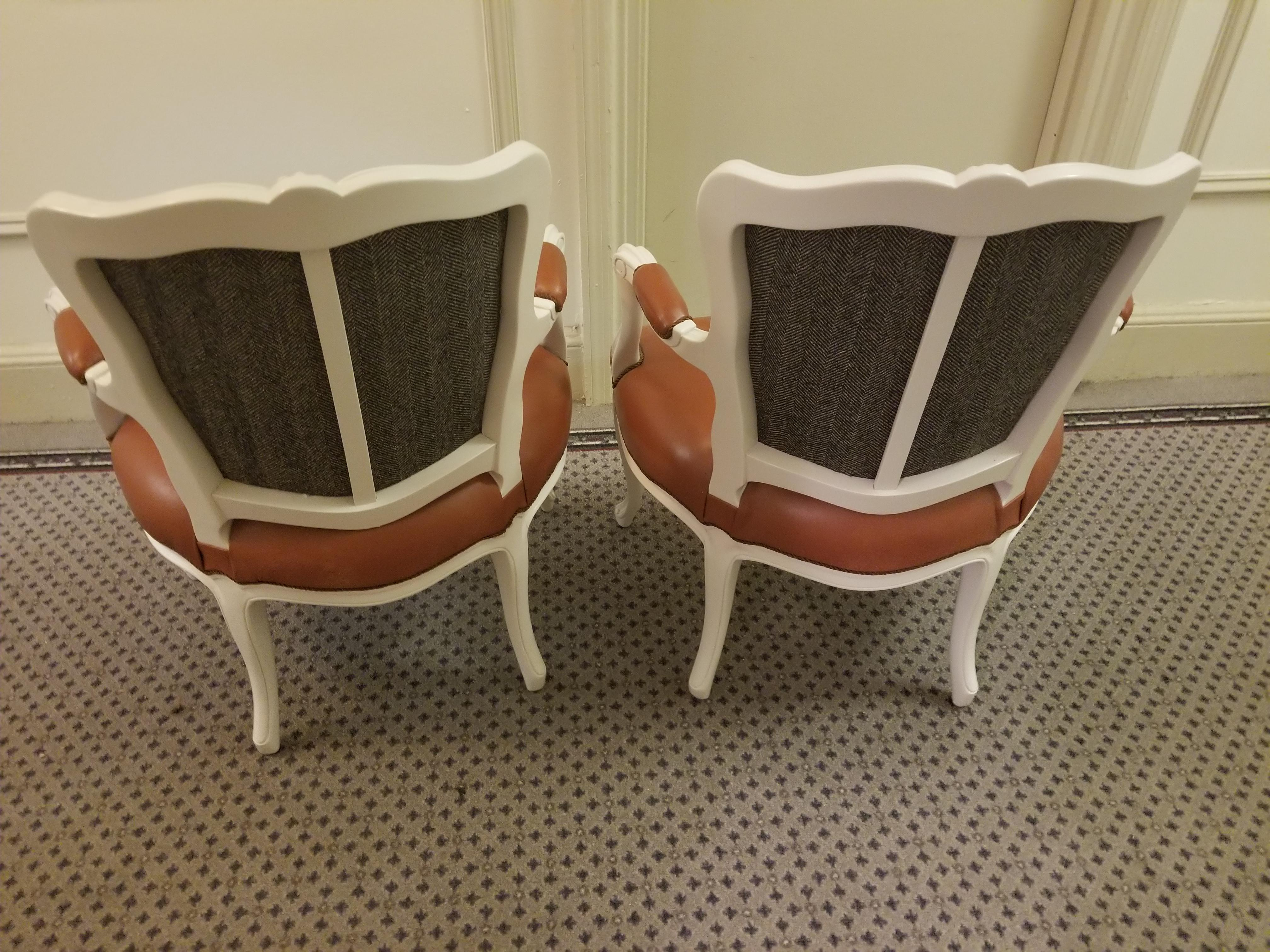 French Cognac Goatskin Leather Slipper Chairs   A Pair   Image 5 Of 6