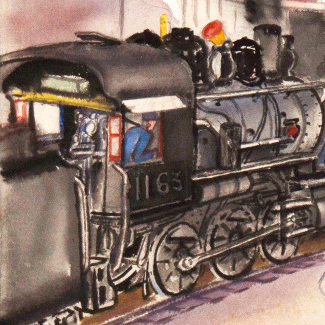 Image of 1970s Railway Depot Watercolor Painting