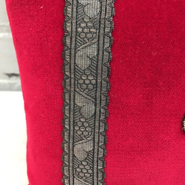 Red Appliqued Pillows - a Pair - Image 5 of 6