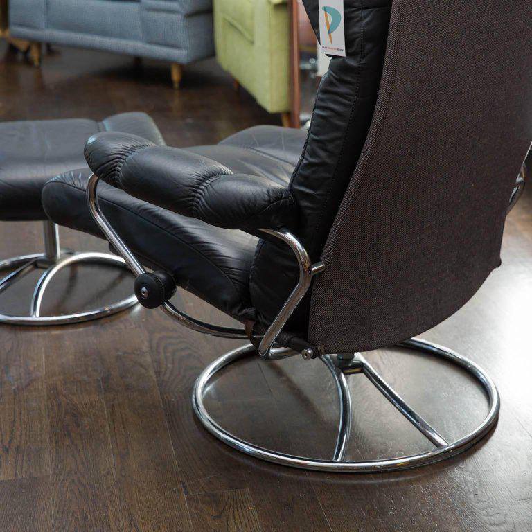 Vintage Ekornes Leather Stressless Recliner and Ottoman - Image 6 of 10 & Superior Vintage Ekornes Leather Stressless Recliner and Ottoman ... islam-shia.org