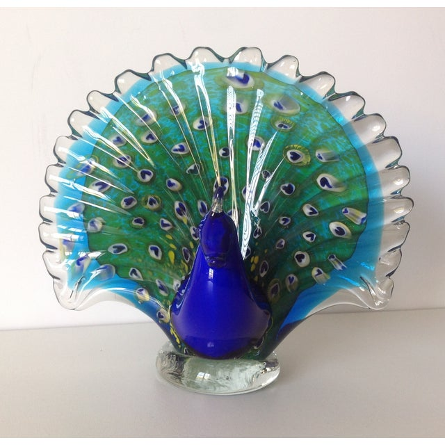 Italian Murano Handblown Peacock - Image 4 of 9